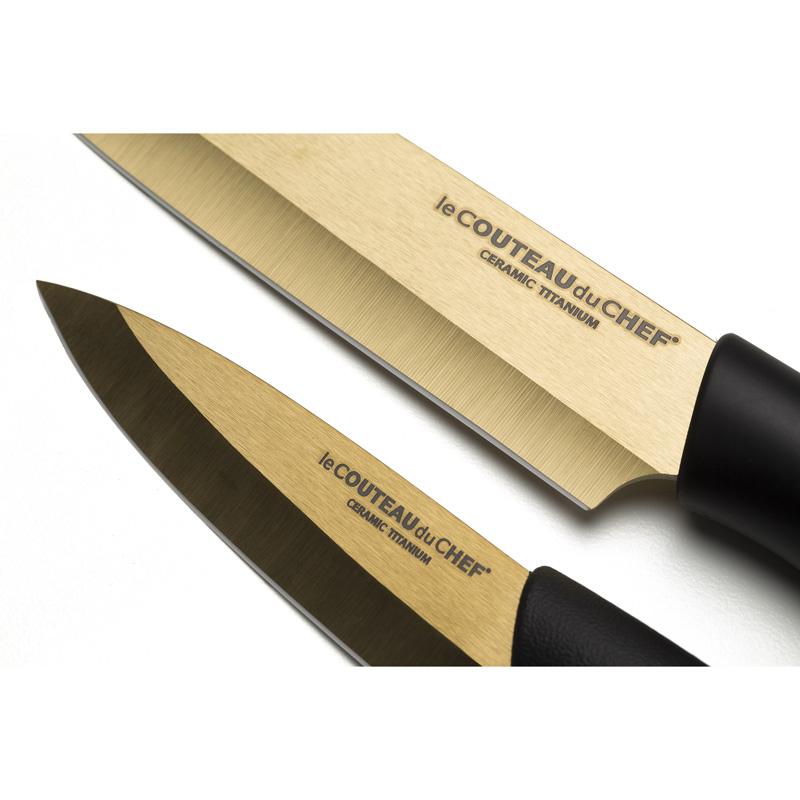Set de 2 couteaux de cuisine titanium c ramique gold - Set couteaux de cuisine ...