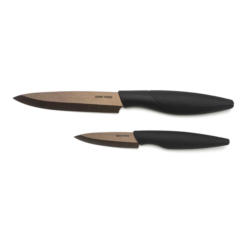 Set de 2 couteaux de cuisine titanium c ramique bronze - Couteau cuisine ceramique ...