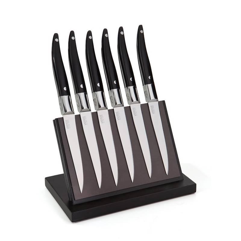 Bloc Magnetique Avec 6 Couteaux A Steak Laguiole Evolution Forges