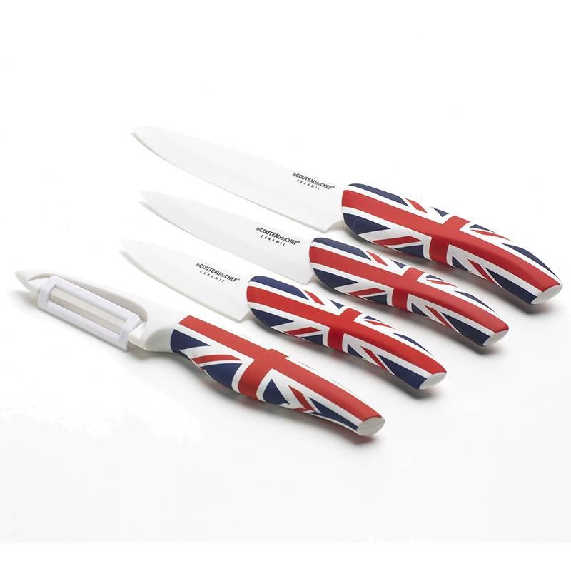 set de couteaux de cuisine flag pays c ramique blanche. Black Bedroom Furniture Sets. Home Design Ideas